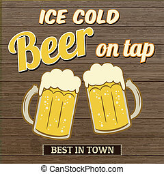 robinet, affiche, glace, bière, conception, froid