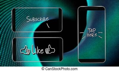 robinet, aimer, trois, ici, smartphones, écrans, scintiller, animation, mots, souscrire