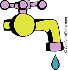 robinet eau, dessin animé, icône