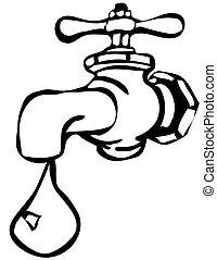 robinet eau, isolé, -, icône, vecteur