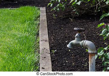 robinet eau, jardin, spigot, ou