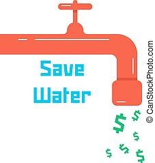 robinet eau, sauver, rouges