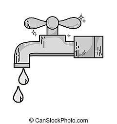 robinet, grayscale, métal, eau, propre, gouttes