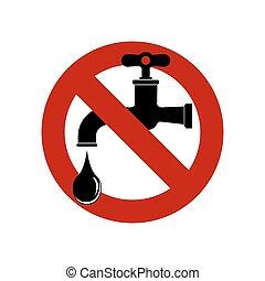 robinet, illustration., signe, eau, vecteur, icon., sauver