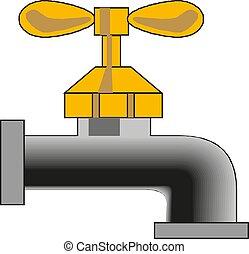 robinet, ilustration, eps, eau, vecteur, icône
