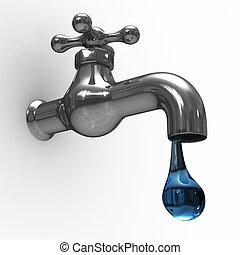 robinet, image, isolé, arrière-plan., blanc, 3d