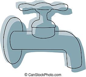 robinet, -, isolé, eau, vecteur, icône