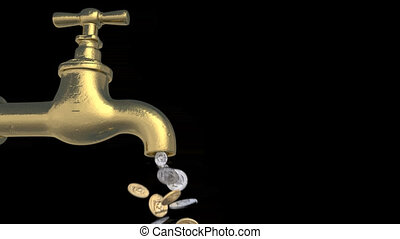 robinet, monnaie, dollar