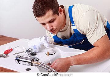 robinet, plombiers, installer