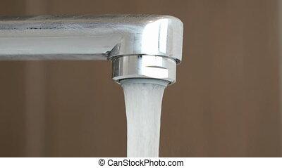 robinet, ruisseau, chrome-plaqué, fluxs, eau, fort