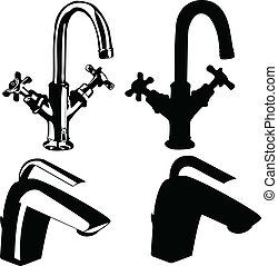 robinets, moderne, vieux