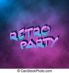 robiony, 1980, afisz, neon, dyskoteka, retro, tło, 80ą, partia