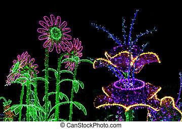 robiony, barwny, girlanda, lampy, kwiaty, boże narodzenie