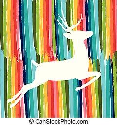 robiony, barwny, kolor, jeleń, ręka, szczotka, pociągnięty