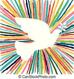 robiony, barwny, kolor, ręka, szczotka, pociągnięty, gołębica, ptak