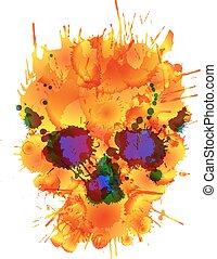robiony, czaszka, barwny, plamy