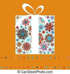 robiony, dar, snowflakes., eps, kabiny, 8, boże narodzenie