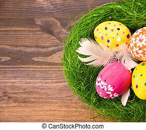 robiony, drewniany, jaja, pierze, tło, trawa, wielkanoc, gniazdo