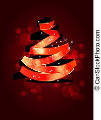 robiony, drzewo, stylizowany, czerwony, boże narodzenie, wstążka