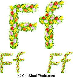 robiony, f, tulipan, wektor, kwiat, litera, chrzcielnica, typ