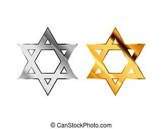 robiony, judaizm, złoty, metall, połyskujący, znaki, biały, religijny, srebro