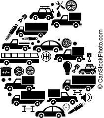 robiony, komplet, alfabet, abstrakcyjny, 6, -, liczba, wektor, wóz, ikona