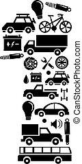 robiony, komplet, wóz, abstrakcyjny, -, liczba 1, wektor, alfabet, ikona