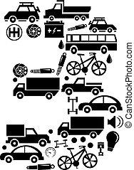 robiony, komplet, wóz, abstrakcyjny, -, liczba 3, wektor, alfabet, ikona