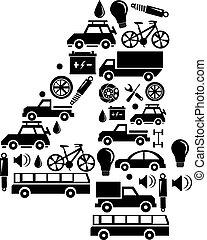 robiony, komplet, wóz, abstrakcyjny, -, liczba, wektor, 4, alfabet, ikona