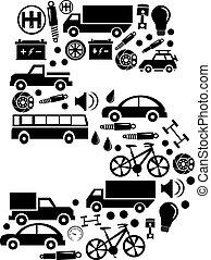 robiony, komplet, wóz, abstrakcyjny, -, liczba, wektor, 5, alfabet, ikona