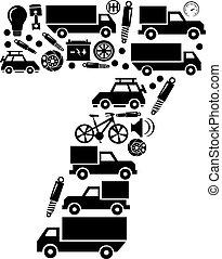robiony, komplet, wóz, abstrakcyjny, -, liczba, wektor, 7, alfabet, ikona