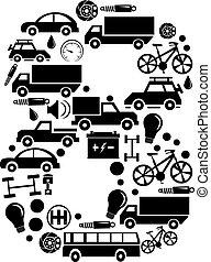 robiony, komplet, wóz, abstrakcyjny, -, liczba, wektor, alfabet, 8, ikona