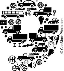 robiony, komplet, wóz, abstrakcyjny, -, liczba, wektor, alfabet, 9, ikona