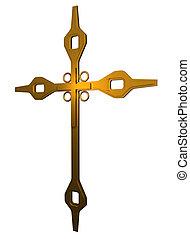 robiony, krzyż, złoty