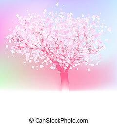 robiony, miłość, drzewo, eps, stylizowany, hearts., 8