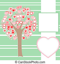 robiony, miłość, drzewo, stylizowany, serca, wiadomość