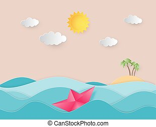 robiony, nawigacja, słońce, machać, woda, cięty papier, morze, origami, ruchomy, ocean, style., łódka