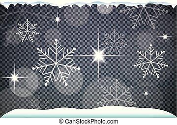 robiony, płatki śniegu, ilustracja, wektor, upiększenia, boże narodzenie