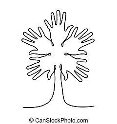 robiony, pomoc, drzewo, współposiadanie, ręka, ludzki