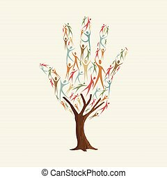 robiony, pomoc, ludzie, drzewo, ręka, formułować, towarzyski