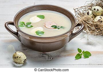 robiony, składniki, kraj, zupa, kwaśny, świeży