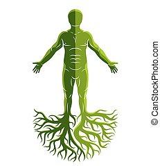 robiony, starożytny, człowiek, bóg, concept., sportowy, drzewo, celtycki, roots., wektor