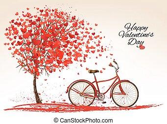 robiony, tło, valentine, drzewo, rower, hearts., vector., dzień na zewnątrz