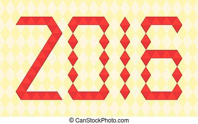 robiony, triangle, takty muzyczne, rok, 2016, czerwony