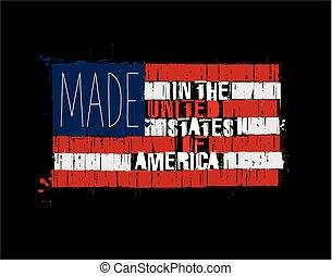 robiony, usa, tekst, -, amerykańska bandera