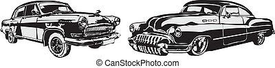 robiony, wóz, -, eps, wektor, retro