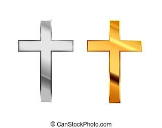 robiony, złoty, katolicyzm, metall, połyskujący, znaki, biały, religijny, srebro