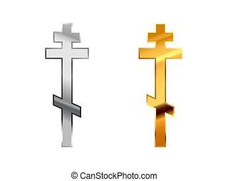 robiony, złoty, prawowierny, metall, połyskujący, znaki, biały, religijny, srebro