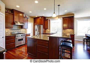 roble, gabinetes, sitio moderno, cocina