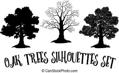 roble, siluetas, negro, árboles